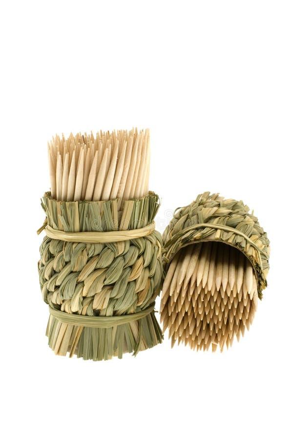 Bambustoothpicks stockbilder