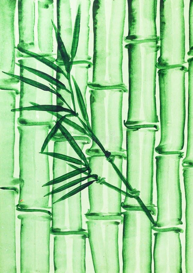 Bambuswaldung auf farbigem Papier des Grüns stock abbildung
