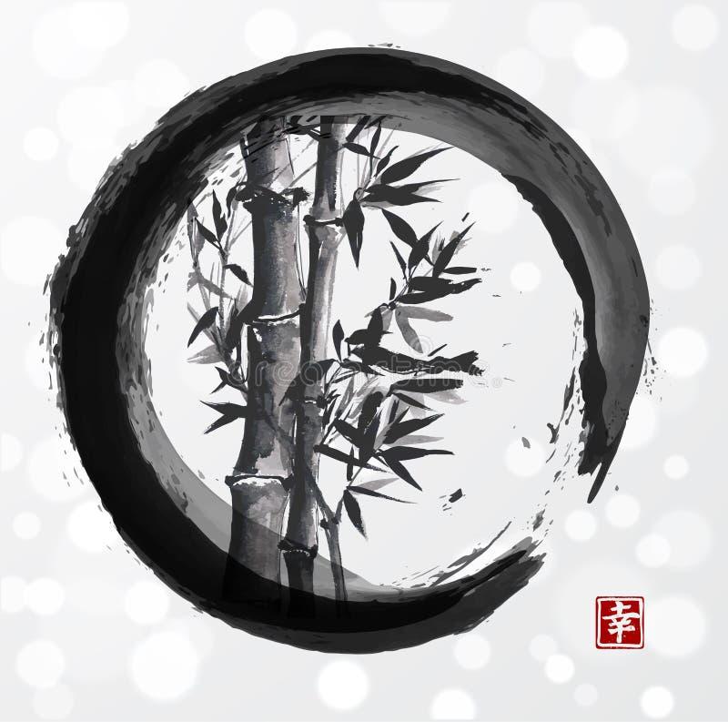 Bambuträd i ensozencirkel royaltyfri illustrationer