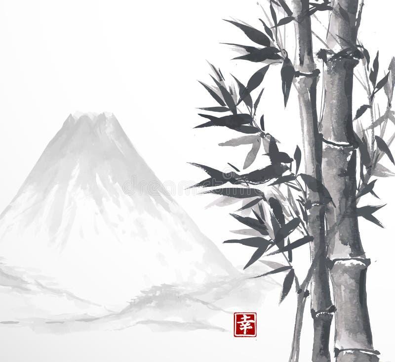 Bambuträd och höga berg royaltyfri illustrationer