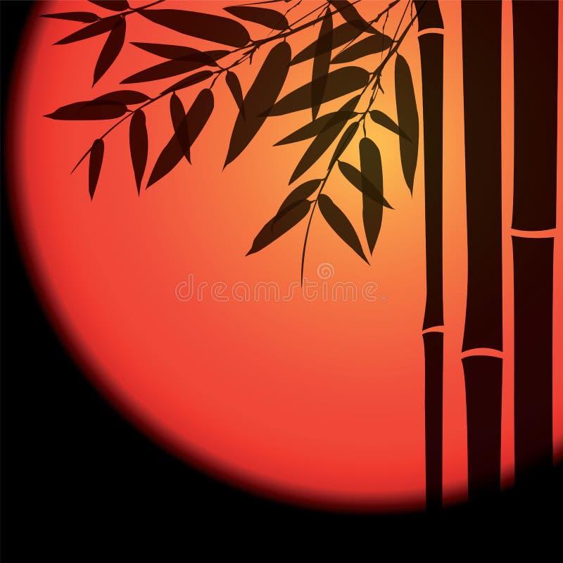 Bambuträd och sidor med den röda solen på svart royaltyfri illustrationer