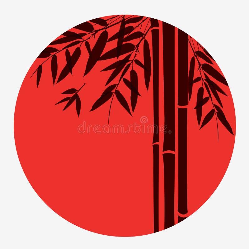 Bambuträd och sidor med den röda solen på vit royaltyfri illustrationer