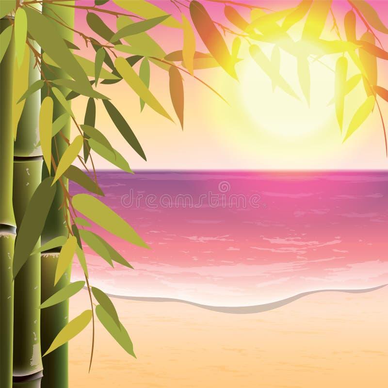 Bambuträd och sidor på sanden sätter på land stock illustrationer