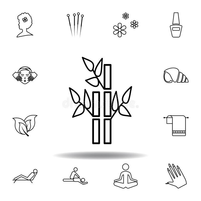 Bambuv?xter av brunnsort?versiktssymbolen Detaljerad uppsättning av brunnsorten och att koppla av illustrationsymbolen Kan anv?nd vektor illustrationer