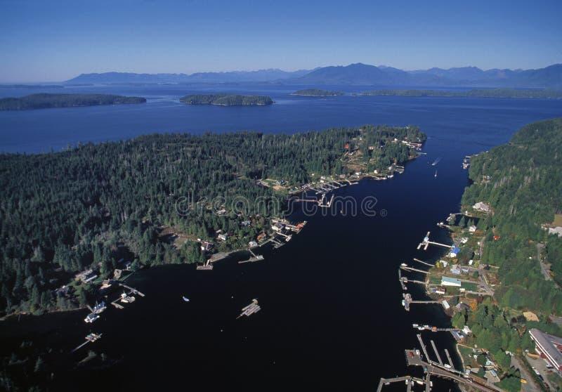 Bamfield的空中图象, BC,加拿大 免版税库存照片