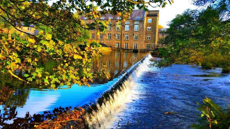 Bamford Mill Waterfall royalty free stock photos