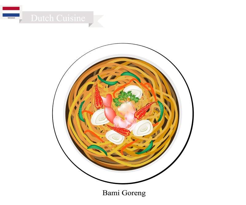 Bami Goreng ou émoi Fried Noodles de Néerlandais illustration stock