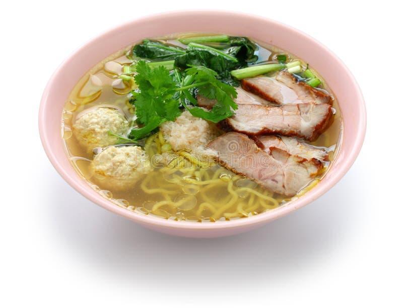 Bami nam, egg noodles soup served with roast pork stock image