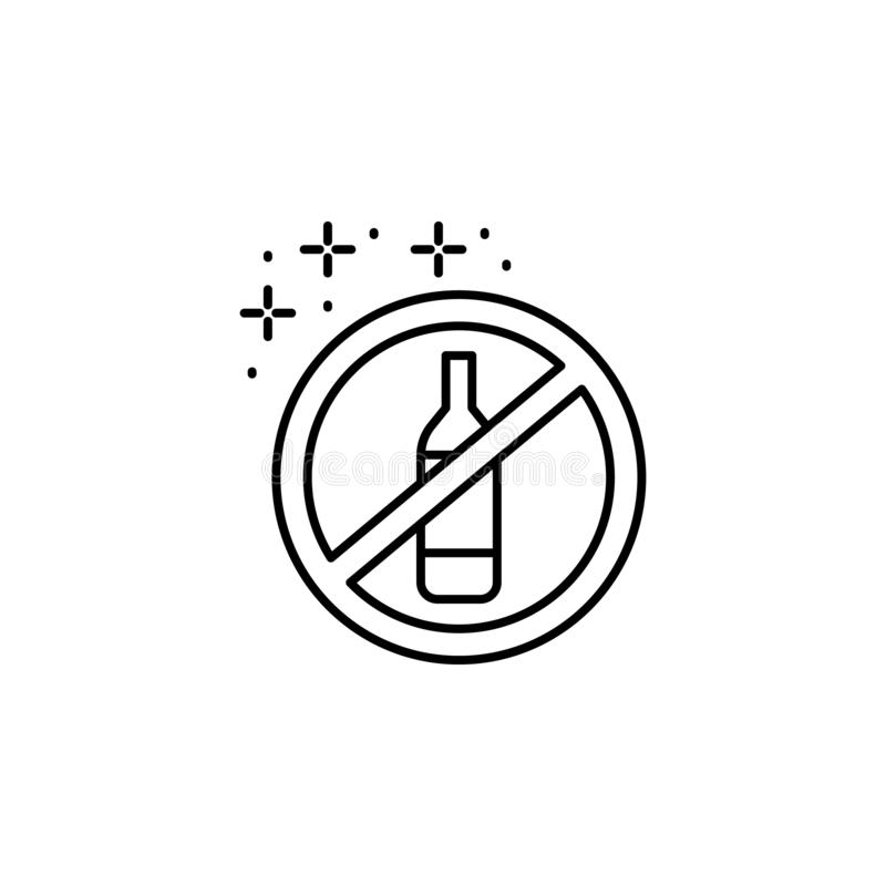 Ban bottle alcohol icon. Simple line, outline vector of diet icons for ui and ux, website or mobile application. On white background vector illustration