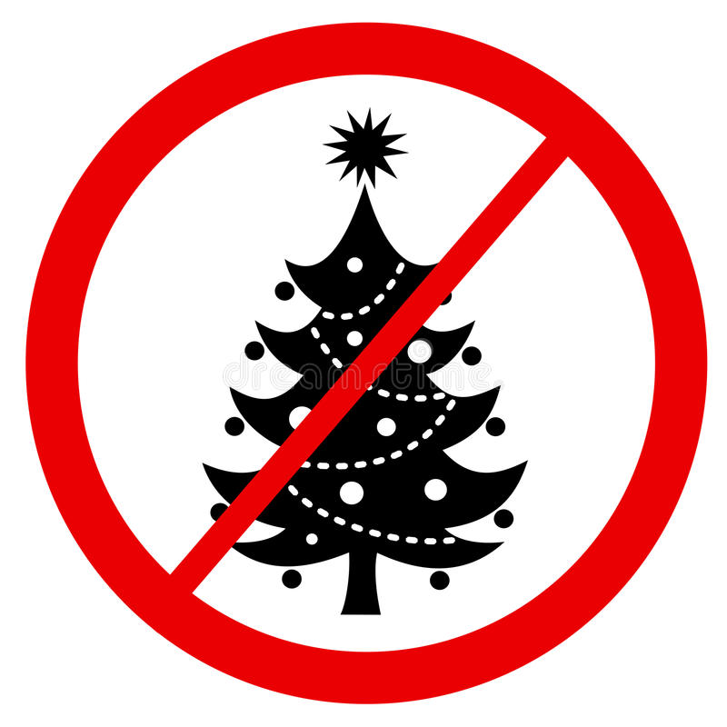 Ban of Christmas tree. Prohibition of decorated xmas tree because of being offensive religious christian symbol, ecological issue royalty free illustration