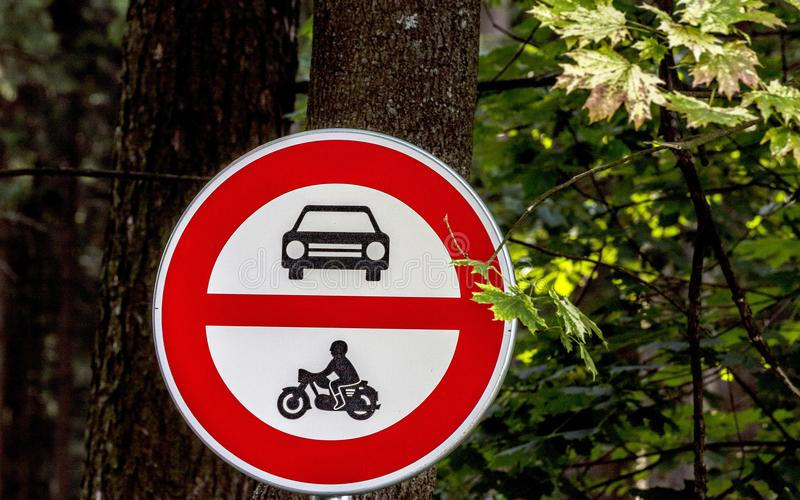 The ban on the entry of motor vehicles into the forest royalty free stock photo