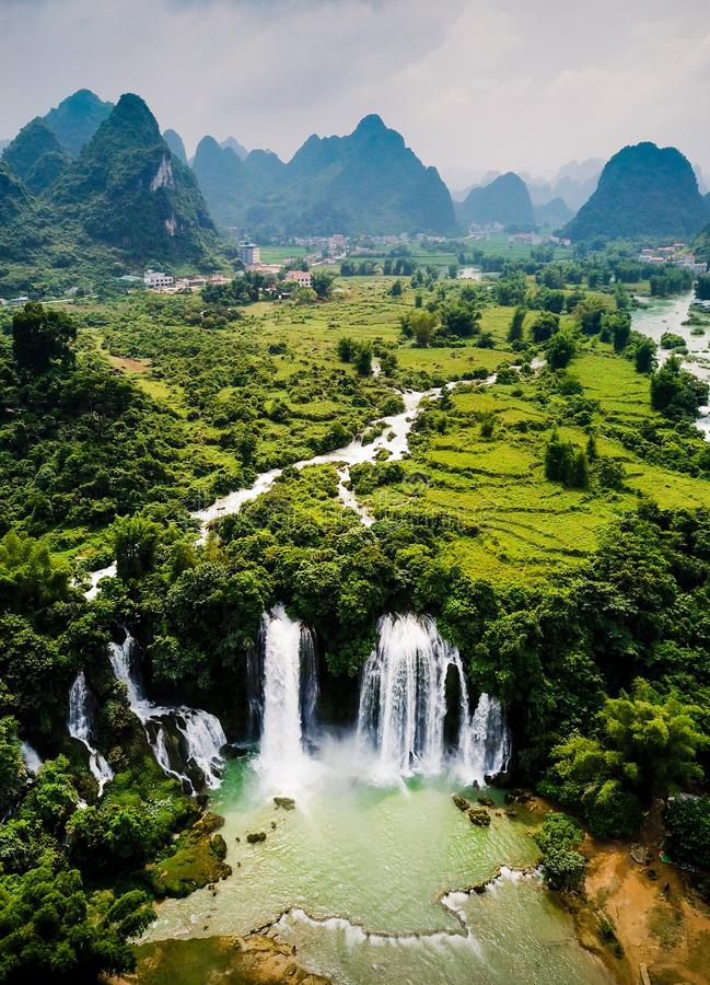 Ban Gioc Detian waterfall on China and Vietnam border aerial vie royalty free stock photography