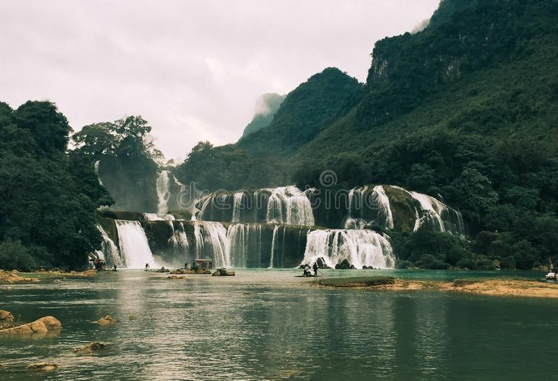 Ban Gioc Detian Waterfall at Cao Bang, Vietnam stock photography