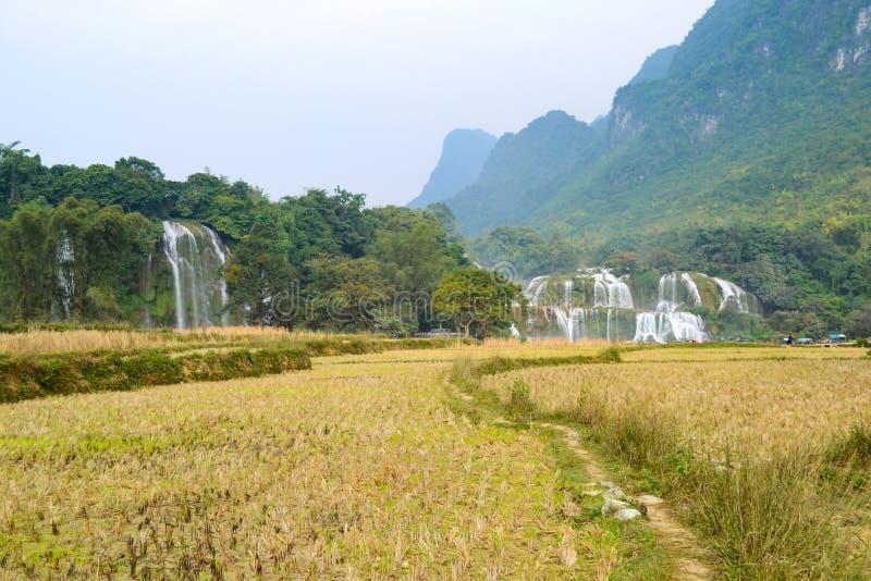 Ban Gioc Waterfall o Detian Falls, Vietnam' cascata più nota di s situata in Cao Bang fotografie stock