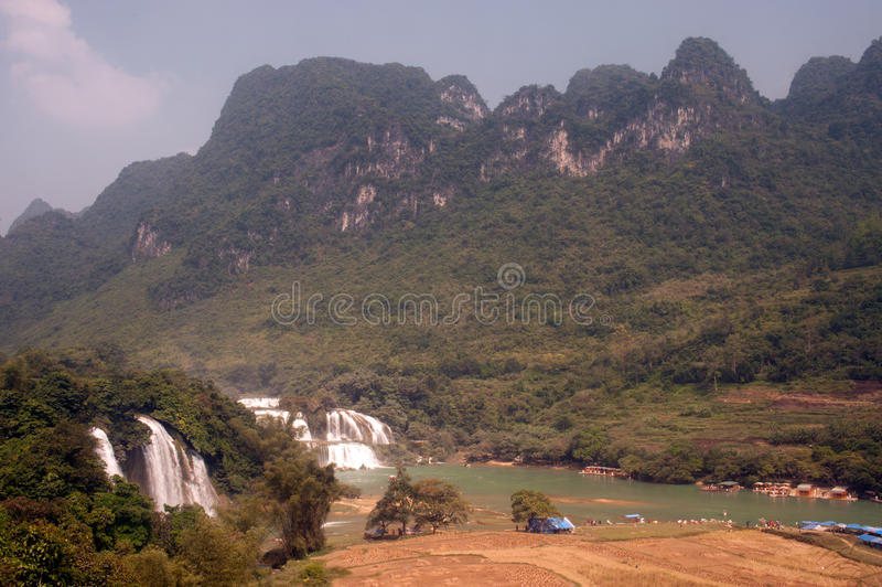 Ban Gioc waterfall in Vietnam and Datian waterfall in China. royalty free stock image