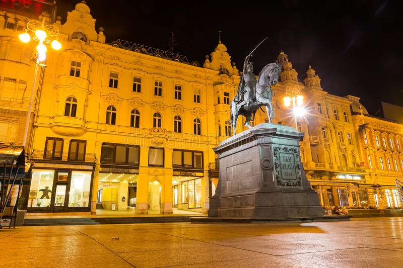 Ban Jelacic monument on central city square (Trg bana Jelacica) stock photos