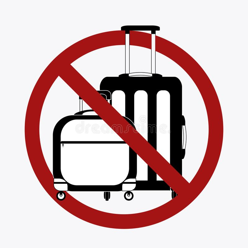 Ban on luggage. Silhouette of suitcases in the prohibition sign. Stop cargo. Travel light. Object is separate from the background stock illustration