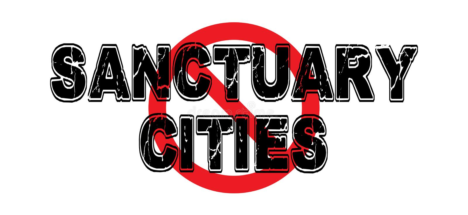 Ban Sanctuary Cities. American cities that do not enforce federal immigration laws vector illustration
