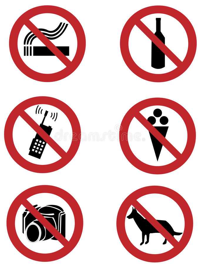 Free Ban Signs On Dogs, Smoking, Food, Drinking, Camera Stock Photography - 4618882