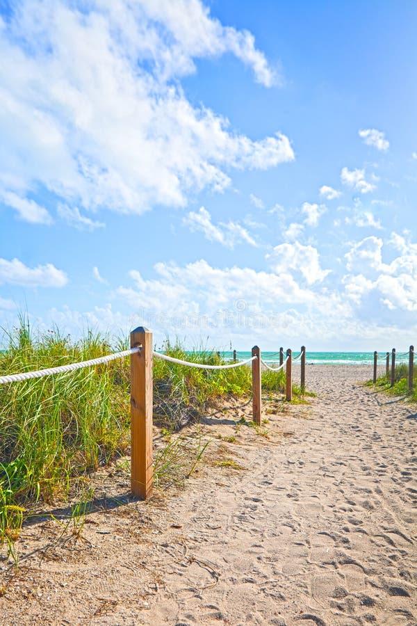 Bana av sand som går till stranden och havet i Miami Beach Florida royaltyfria bilder