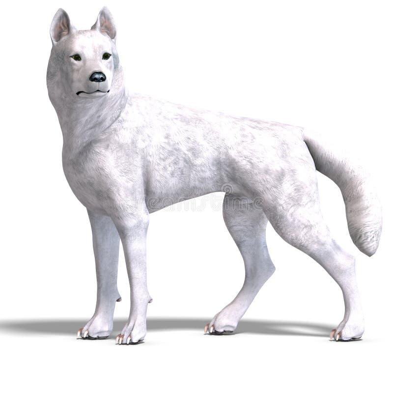bana för clipping som 3d framför den vita wolfen stock illustrationer