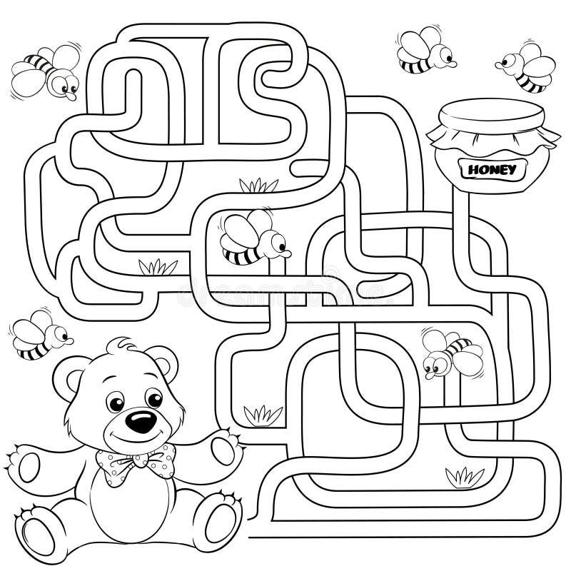 Bana för hjälpbjörnfynd till honung labyrint Mazelek för ungar Svartvit vektorillustration för färgläggningbok royaltyfri illustrationer