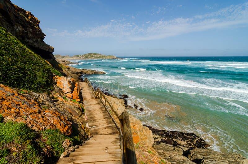 Bana för Robberg naturreserv längs det indiska havet nära plettenbergvågor Söder - afrikanskt landskap, Sydafrika, trädgårdrutt arkivfoto