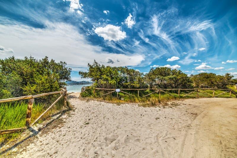 Bana på sanden i Puntaldia arkivbilder