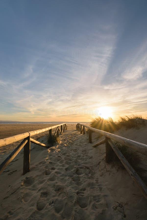 Bana på sanden som går till havet, Tarifa, Spanien royaltyfri bild
