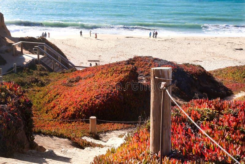 Bana på sanden som går till stranden, Los Angeles, CA royaltyfri bild