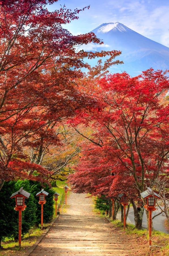 Bana till Mt Fuji i hösten, Fujiyoshida, Japan arkivbild