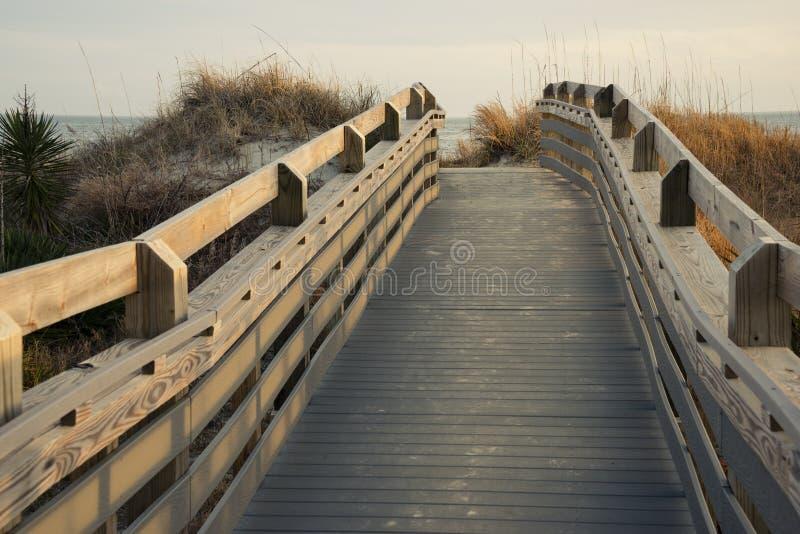 Bana till stranden, en scenisk sikt av kusten längs sanddyn arkivbilder