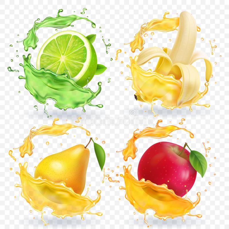 Banaan, appel, kalk, Realistische de vruchten van het perensap plonsen, vectorpictogramreeks royalty-vrije illustratie
