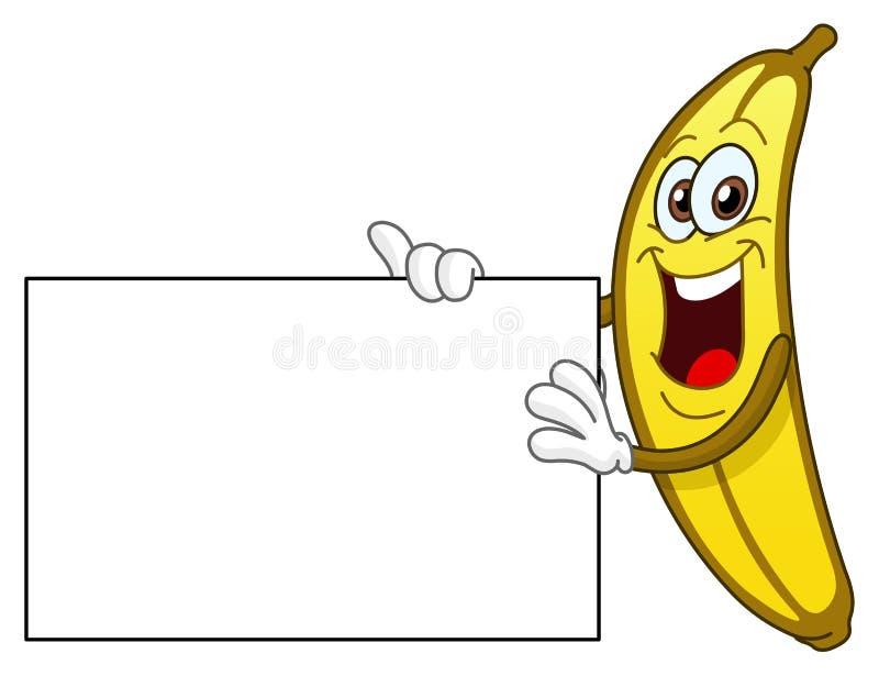 Banaan die een teken houdt stock illustratie