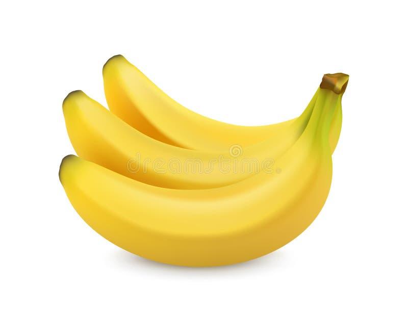 Banaan die op wit wordt geïsoleerde Zoet fruit 3D Realistische Vector royalty-vrije illustratie
