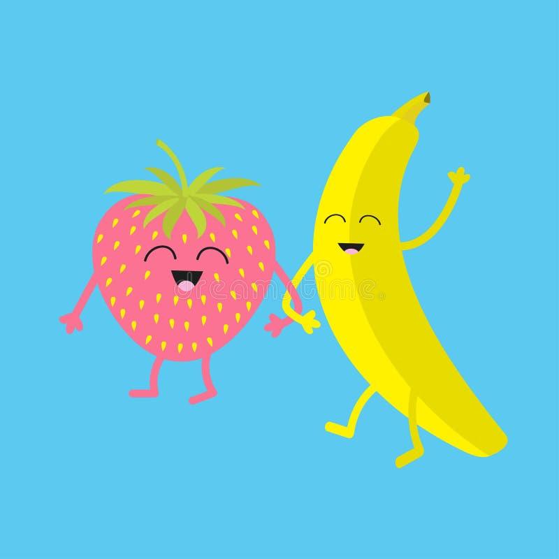 Banaan en Aardbei Gelukkige fruitreeks Het glimlachen gezicht Beeldverhaal glimlachend karakter met ogen Vrienden voor altijd De  stock illustratie
