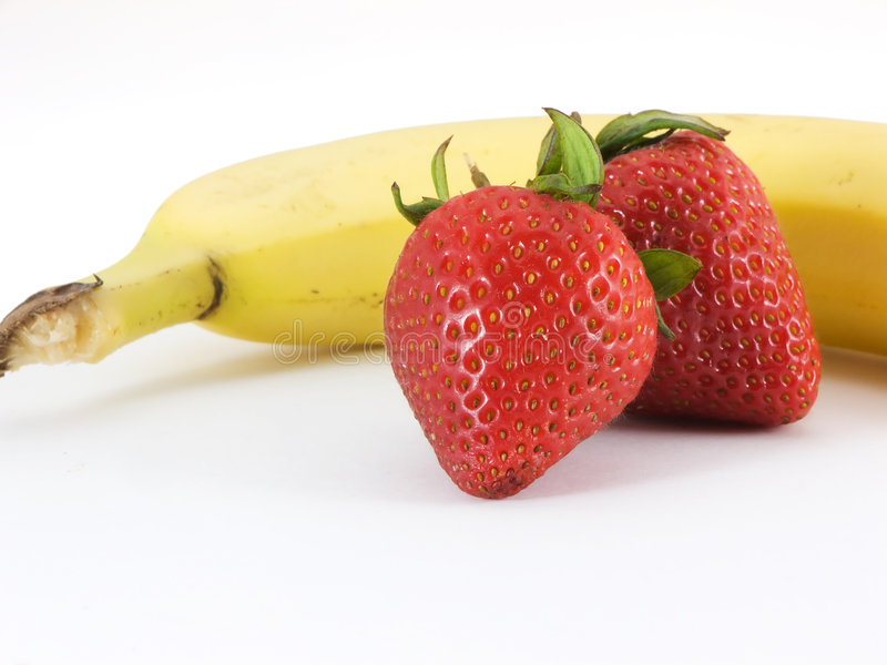Banaan en Aardbeien royalty-vrije stock foto