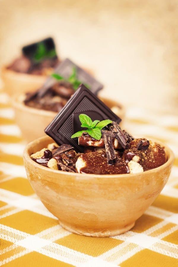 Banaan en donker chocoladedessert royalty-vrije stock foto's
