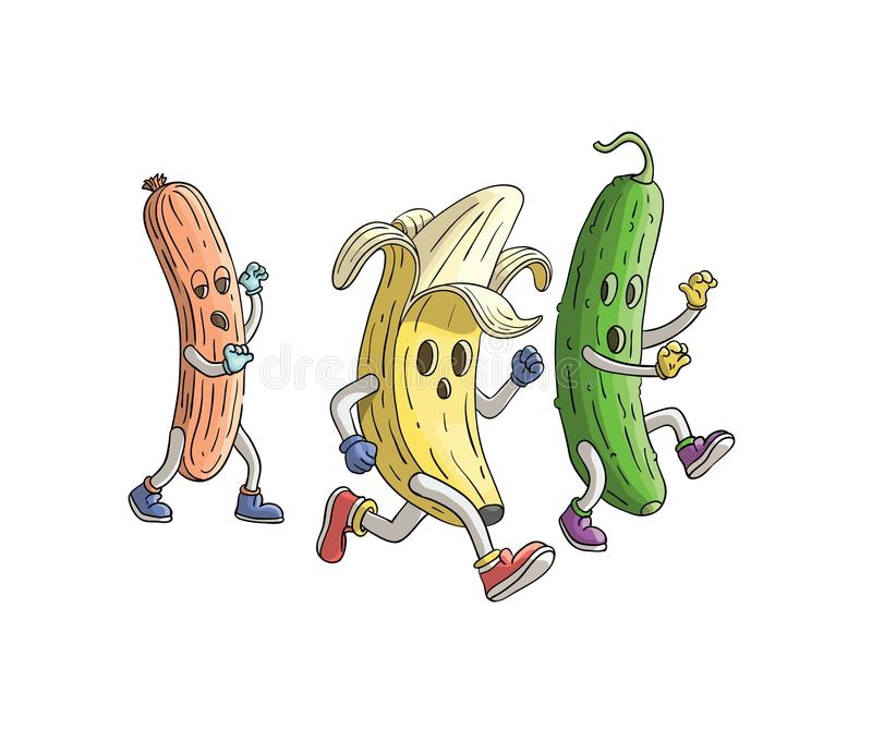 Banaan en komkommer van zombieworst die in werking wordt gesteld Veggieslooppas royalty-vrije illustratie