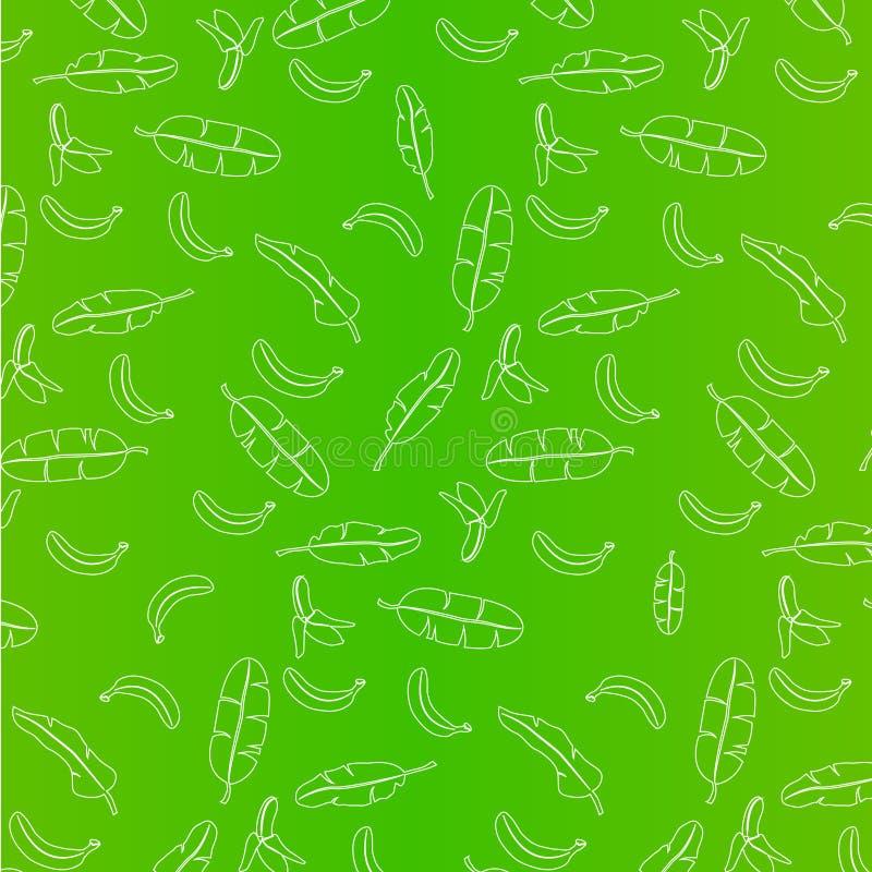 Banaan en van banaanbladeren patroon op groene illustratie als achtergrond royalty-vrije illustratie