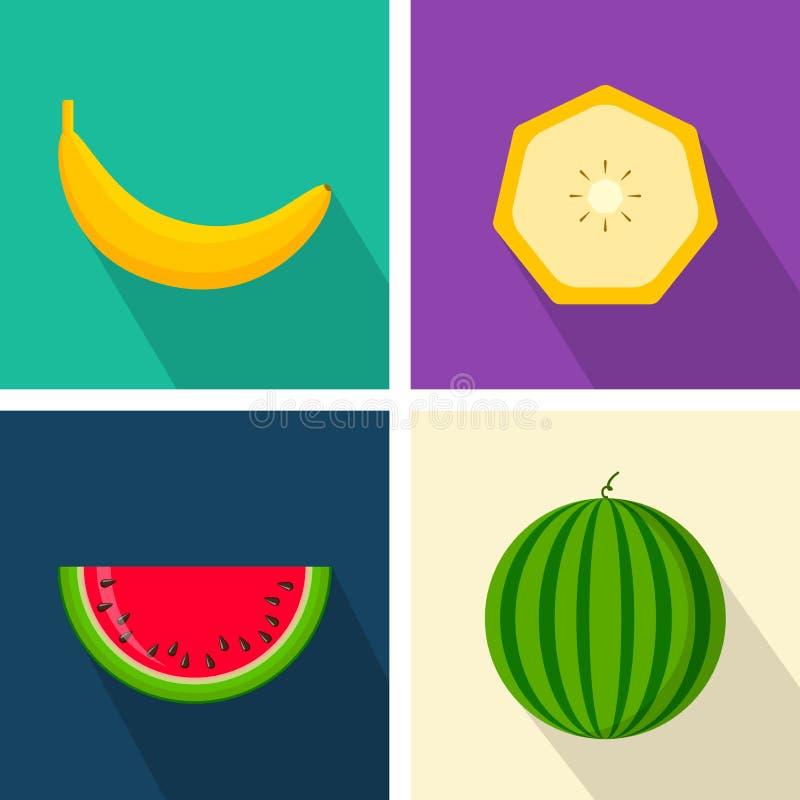 Banaan en watermeloen Kleurrijk vlak ontwerp Vruchten met schaduw Vector geplaatste pictogrammen stock illustratie