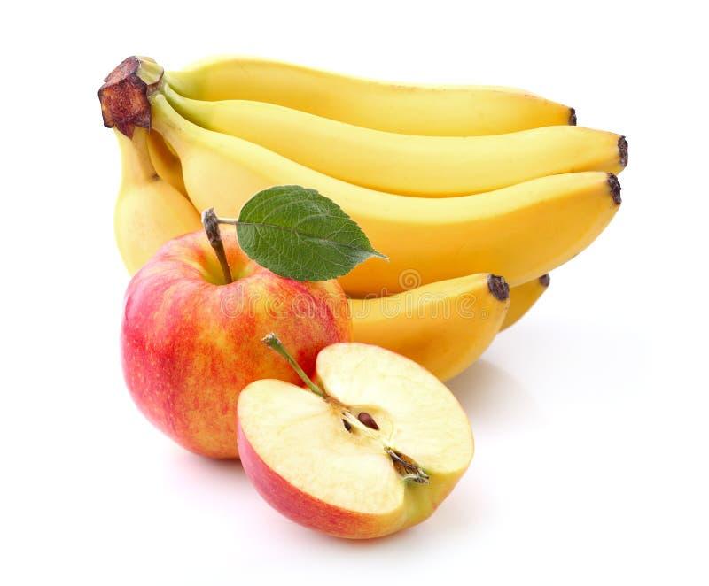 Banaan met appel royalty-vrije stock fotografie