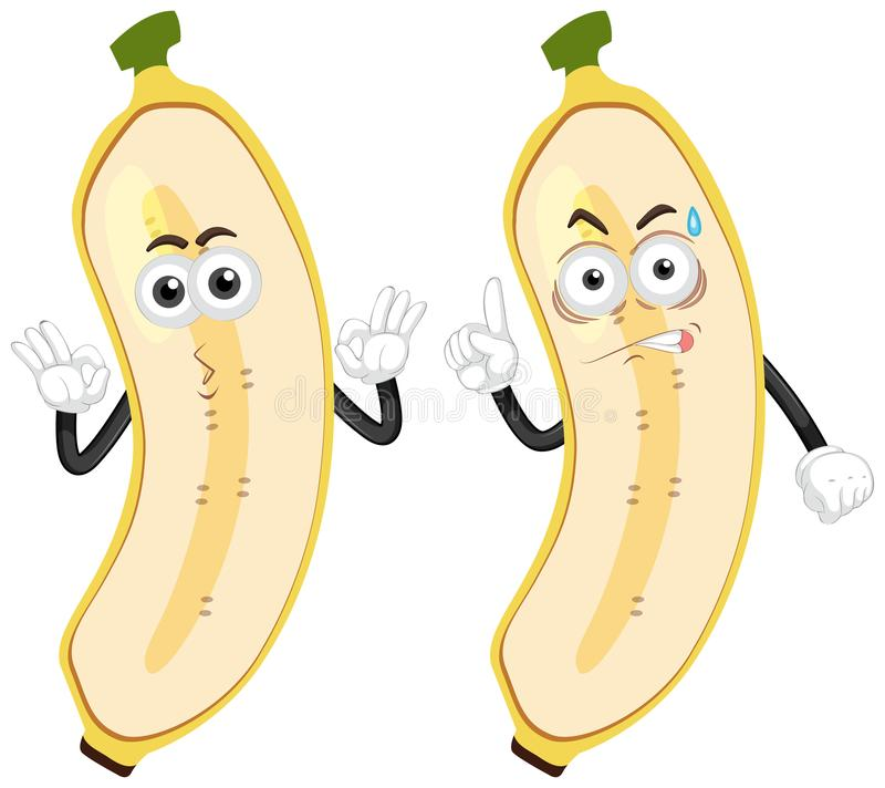 Banaan met twee emoties stock illustratie