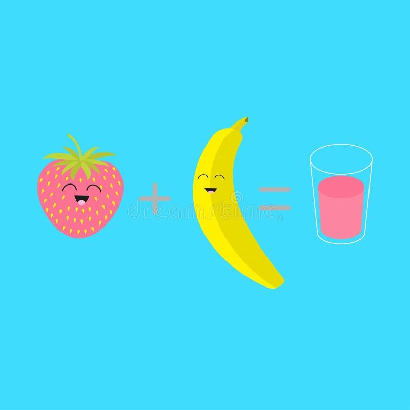 Banaan plus aardbei gelijk vers glas van sap smoothie schok Gelukkige fruitreeks Karakter van het beeldverhaal het glimlachende g vector illustratie