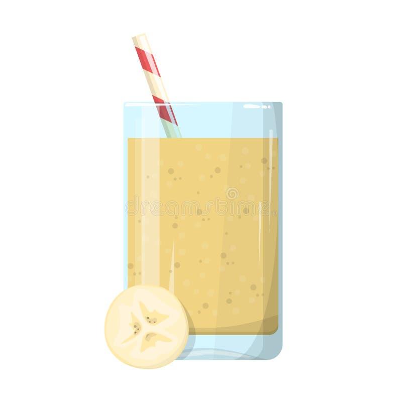Banaan smoothie, verse gezonde cocktail Organische vegetari?r stock illustratie
