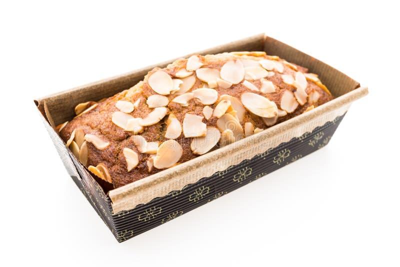 Banaancake met amandel stock foto's