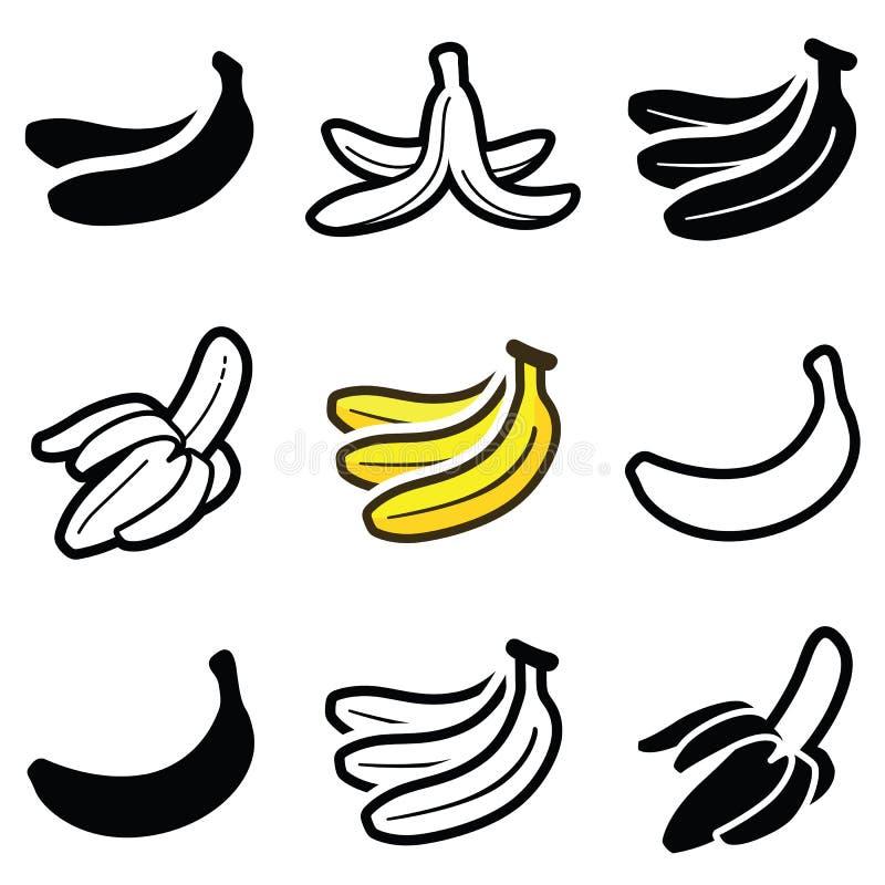 Banaanpictogrammen royalty-vrije illustratie
