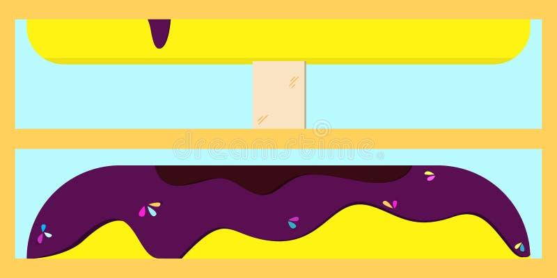 Banaanroomijs op een stok die met de illustratie van het bessenbovenste laagje druipen royalty-vrije illustratie