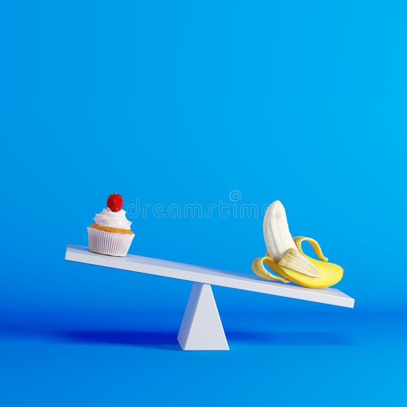 Banaanzitting op geschommel met cupcake op tegenovergesteld eind op blauwe achtergrond vector illustratie