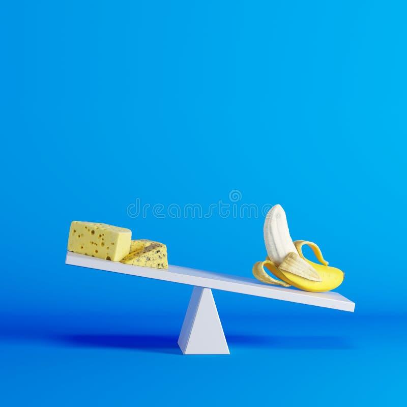 Banaanzitting op geschommel met kaas op tegenovergesteld eind op blauwe achtergrond stock illustratie